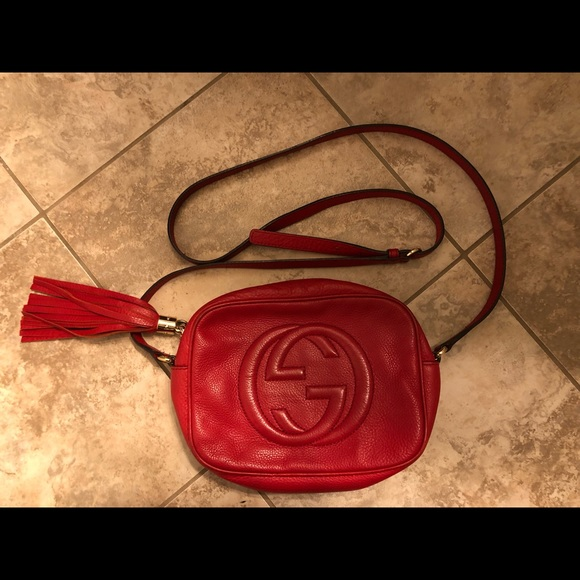 RED LEATHER GUCCI SOHO DISCO BAG